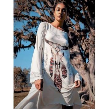 Robe tunique BUFFALO asymétrique style hippie chic de la marque YACAMIM