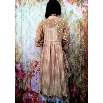 Robe tablier lin rayé LESLIE