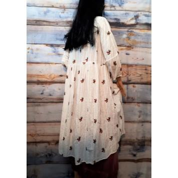 Robe longue Bohème romantique ALICIA Broderie Anglaise brodée fleurs