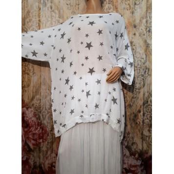 Tunique coton STARS fond Blanc...
