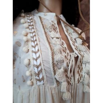 Robe longue REBECCA en coton Crème