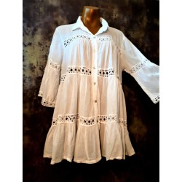 Tunique chemise LAURA coton blanc