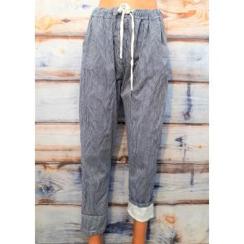 Pantalon coton Caroline rayé...
