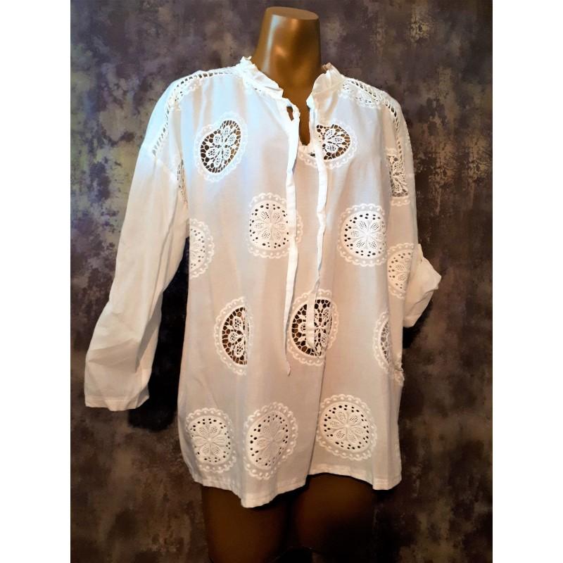 Tunique Bohème Chic LINDA brodée et ajourée en coton blanc