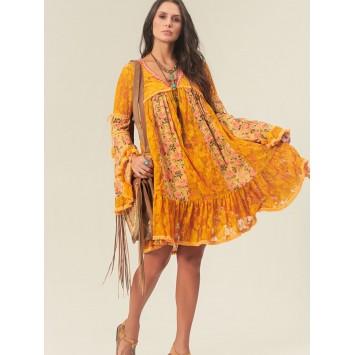Robe Bohème LINDIA en dentelle et imprimé fleurs de la marque YACAMIM