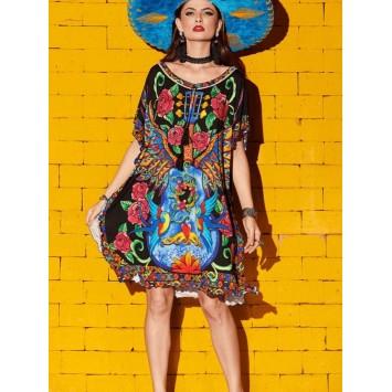 Robe Tunique Bohème Folk YOLANDA de la marque YACAMIM