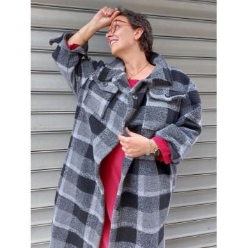 Manteau DAKOTA en laine motif à...