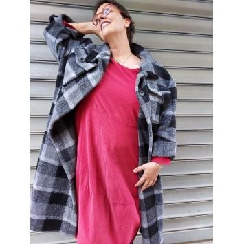 Manteau DAKOTA en laine motif à carreaux Noir Gris