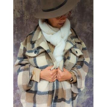 Manteau DAKOTA en laine motif à carreaux Beige Brun Crème