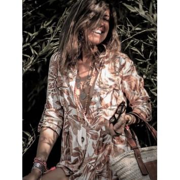 Robe JAASE SAFARI coupe chemise imprimé jungle chic et bohème