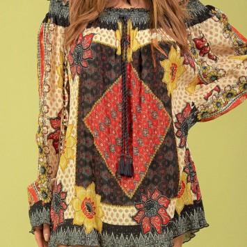 Blouse SOLENA style hippie chic de la marque brésilienne YACAMIM