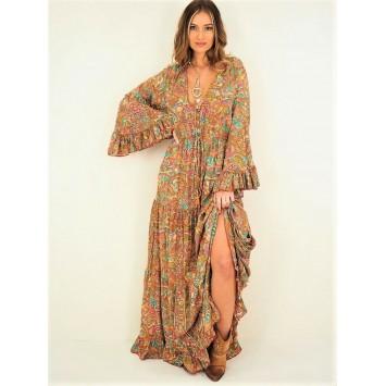 Robe longue volantée MILLA au style bohème 70% soie imprimée